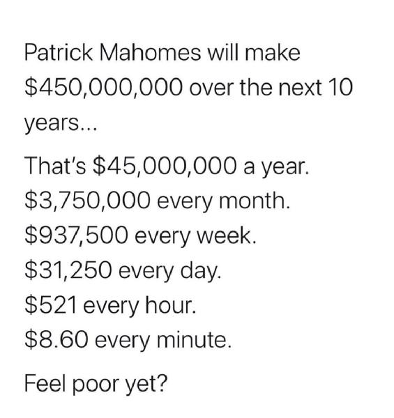 Patrick Mahomes making us feel poor