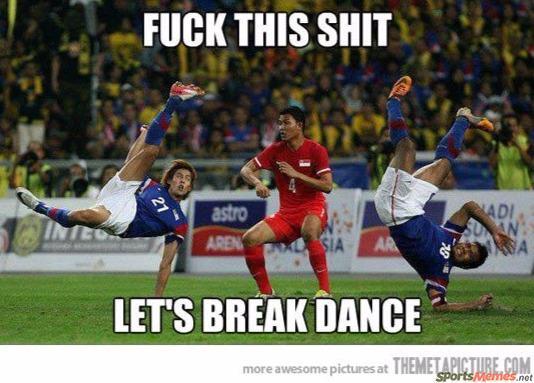Soccer players break dancing