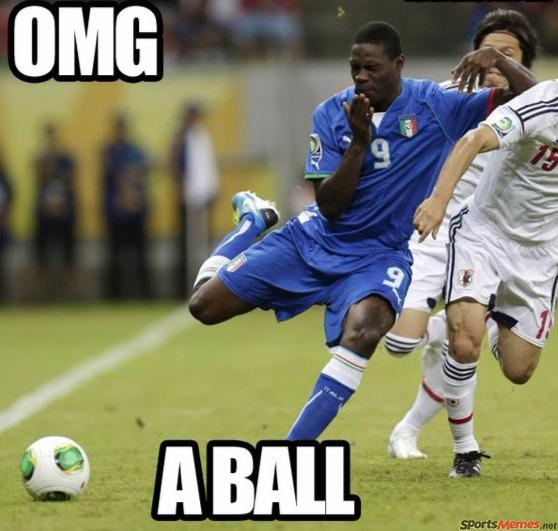 Soccer player scared of a ball