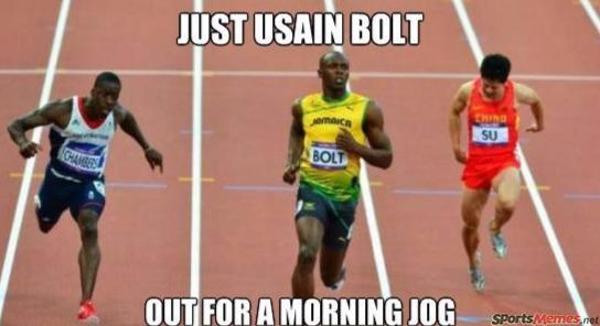 Usain Bolt jogging